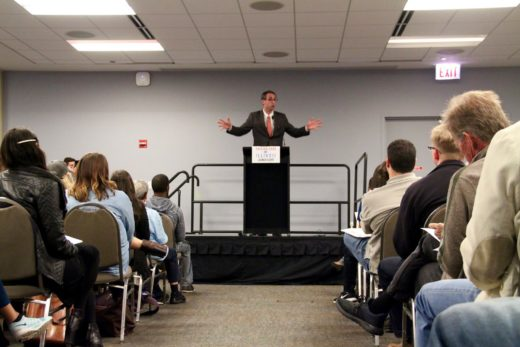 Will Guzzardi speaking at the Tuition Free Illinois Launch event